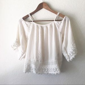 American Eagle Top Cold Shoulder Off White Boho XS
